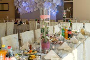 Różowe dekoracje sali